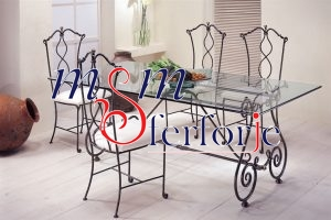 074 Wrought Iron Table Chair Coffee Table
