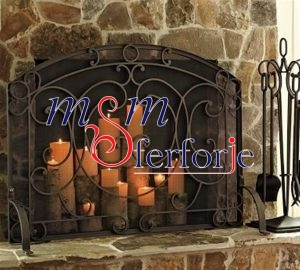 014 Wrought Iron Fireplace Cover Set