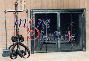 029 Wrought Iron Fireplace Cover Set