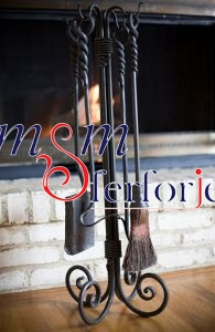 019 Wrought Iron Fireplace Cover Set