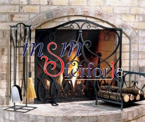 024 Wrought Iron Fireplace Cover Set